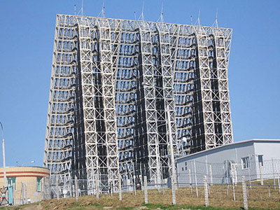 Voronezh-M radar in Lekhtusi represents the current generation of Russian early warning system. (Image from wikipedia.org)