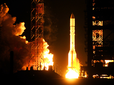 Launch of Proton-M carrier rocket from the Baikonur Space Center. (RIA Novosti / Oleg Urusov)