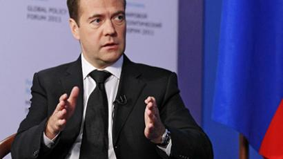 "Russian President Dmitry Medvedev is interviewed on the ""Euronews"" TV channel. (RIA Novosti/Dmitry Astakhov)"