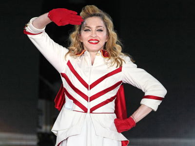 US singer Madonna performs during her concert at Olympic Hall in Moscow on August 7, 2012 (AFP Photo / Mikhail Metzel)