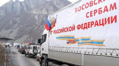 Serbia, Jarinje: A picture taken on December 13, 2011 shows a truck carring Russian aid at the Jarinje border crossing between Serbia and northern Kosovo. (AFP Photo / Sasa Djordjevic)