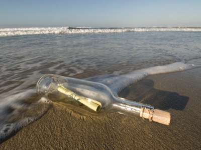 A castaway bottle found its way back home