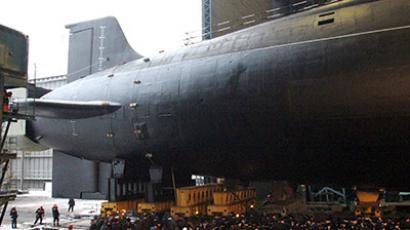 "Borei class nuclear submarine Vladimir Monomah at the ""Sevmash"" shipyard before its launch in Severodvinsk. (RIA Novosti/A. Petrov)"