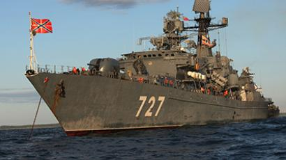 "The Baltic Fleet's guard ship ""Yaroslav Mudry"" during a military exercise on the Baltic Sea. (RIA Novosti / Igor Zarembo)"