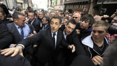 France's President Nicolas Sarkozy during his campaign visit to Bayonne on March 01, 2012 in the Basque country, southwestern France (AFP Photo)