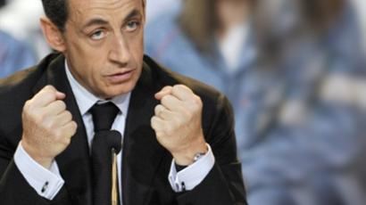 French President Nicolas Sarkozy on April 7, 2011 in Issoire, central France (AFP Photo / Thierry Zoccolan)