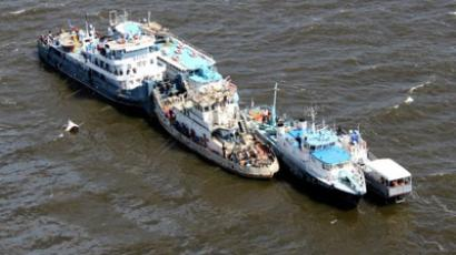 "Vessels engaged in searching in the Kuibyshev reservoir at the site where the ship ""Bulgaria"" sank. (Tatarstan Emergencies Ministry)"