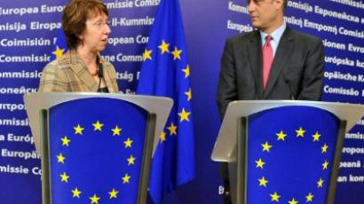 Catherine Ashton (L) and Hashim Thaci give a press conference on March 1, 2012 (AFP Photo / Georges Gobet)