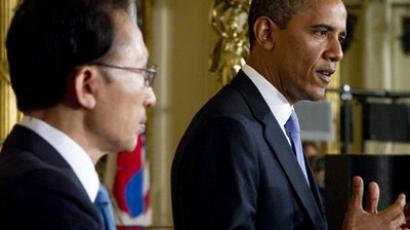 US President Barack Obama and South Korean President Lee Myung-bak hold a joint press conference in the East Room of the White House in Washington, DC, on October 13, 2011