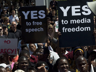 Some 1,000 people protest on November 22, 2011 outside the South African Parliament in Cape Town against the Protection of State Information Bill. (AFP Photo/Rodger Bosch)