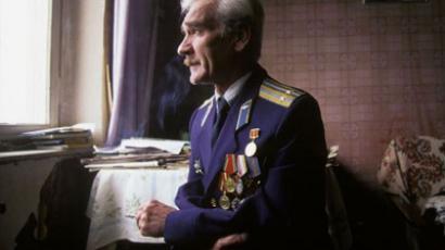 Stanislav Petrov, former Soviet lieutenant colonel, dons his formal uniform.