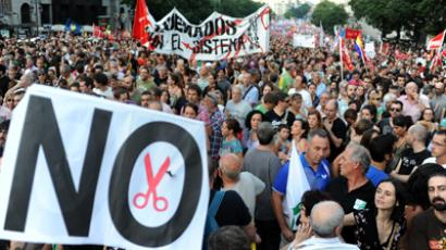 Thousands of people protest against the Spanish government's latest austerity measures, in Madrid (AFP Photo / Dominique Faget)