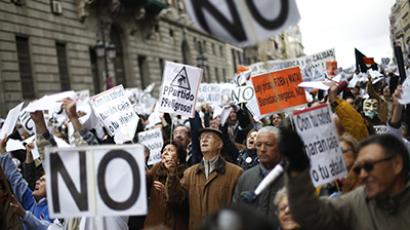 Health workers march against austerity measures in Madrid December 16, 2012. (Reuters/Juan Medina)