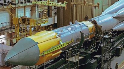Soyuz-5 rocket at vehicle assembly building of Plesetsk space center (RIA Novosti)