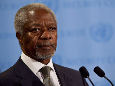 Joint Special Envoy for Syria and former United Nations (UN) Secretary General Kofi Annan (AFP Photo / Andrew Burton)
