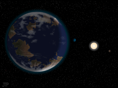 This artist's impression shows the newfound potentially habitable alien planet HD40307g in the foreground. (Image from space.com by J. Pinfield, for the RoPACS network at the University of Hertfordshire)