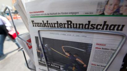A copy of German newspaper Frankfurter Rundschau.(AFP Photo / John Macdougall)