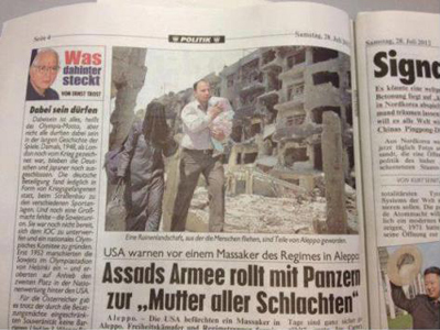Achtung Photoshop! Austria's largest daily edits Syria photo to make it more war-torn