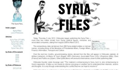 Screenshot from wikileaks.org/syria-files/