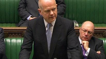 UK foreign secretary William Hague speaking in Parliament on Monday