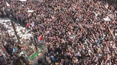 Syria, Homs: An image grab taken from a video shows a large demonstration in the flashpoint central Syrian city of Homs, on December 27, 2011. (AFP Photo / STR)