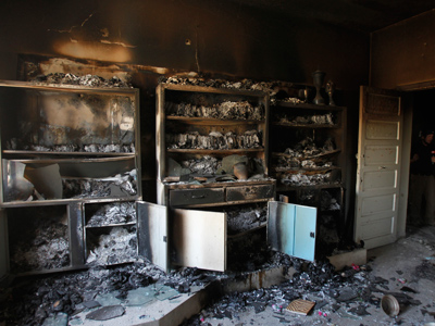 The interior of a burnt out government office is pictured in Haffeh town near Latakia city June 14, 2012 (Reuters / Khaled al-Hariri)
