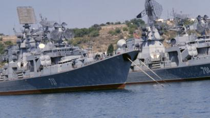 War ships of the Russian Black Sea fleet at anchor in Sevastopol. (RIA Novosti / Vladimir Perventsev)