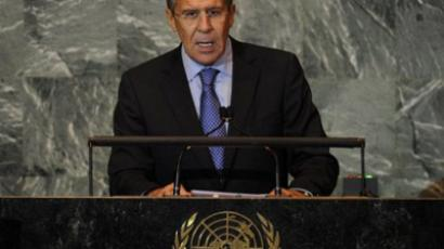 US, New York: Russian Foreign Minister Sergey Lavrov addresses the 66th General Assembly on September 27, 2011 at the United Nations in New York. (AFP Photo / Timothy A. Clary)