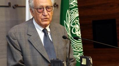 A handout picture released by the Lebanese photo agency Dalati and Nohra shows United-Nations Envoy to Syria Lakhdar Brahimi speaking during a joint press conference with Prime Minister Najib Mikati at the governmental palace in Beirut on October 17, 2012. (AFP Photo/Dalati & Nohra)