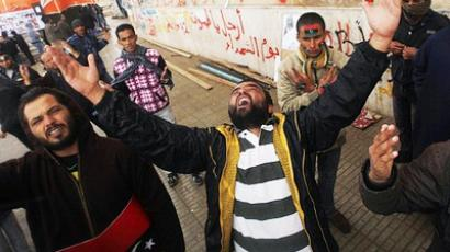Anti-Gaddafi protesters shout slogans in Benghazi  February 24, 2011