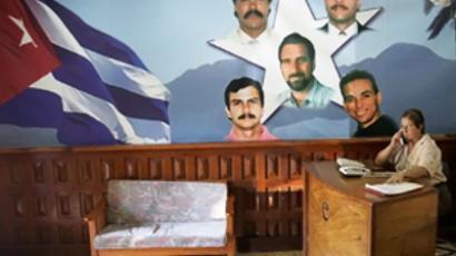 Mural painting of Cuban Five (AFP Photo / Adalberto Roque)