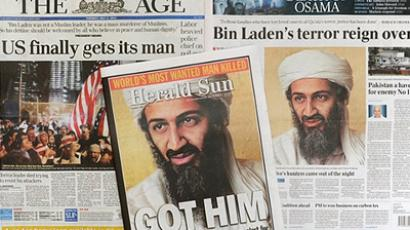 Australia, Melbourne: A photo shows front page coverge in Melbourne on May 3, 2011, of the death of Osama bin Laden in a firefight with US troops in Pakistan. (AFP Photo / William West)