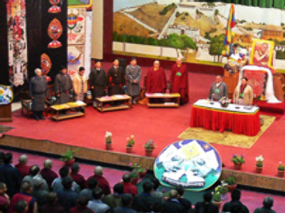 The hall where the meeting is being held today in Dharamsala, India