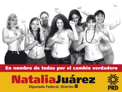 Titillating: Natalia Juarez, the prospective parlamentarian (in the middle).