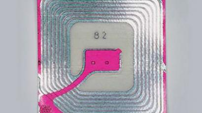 A tracking microchip similar to the ones embedded in Brazilian school uniforms.