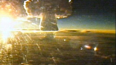 The Tsar Bomb explosion as seen from the flying laboartory that accompanied the Tu-95 bomber