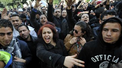Tunisian people shout slogans during a rallye in front of Interior ministry to protest after Tunisian opposition leader and outspoken government critic Chokri Belaid was shot dead with three bullets fired from close range, on February 6, 2013. (AFP Photo / Fethi Belaid)