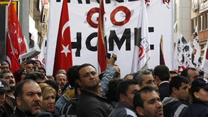 Turkish leftists and nationalists protest against the deployment of Patriot missiles in Turkey near the Mediterranean port of Iskenderun in Hatay province January 21, 2013. (Reuters / Umit Bektas)