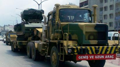 Turkish military trucks carry missile batteries on June 28, 2012 in the center of Hatay. (AFP photo / IHLAS news agency)