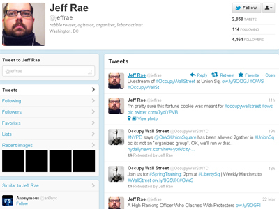 Twitter refuses to give out from account of Jeffrey Rae, a prominent OWS protester charged with disorderly conduct