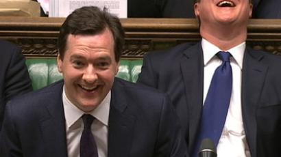 Britain's Chancellor of the Exchequer George Osborne (C) laughs with Prime Minister David Cameron after delivering his autumn budget in parliament in London December 5, 2012.(Reuters / Reuters TV)