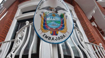 A plaque of the Ecuadorian embassy in London (AFP Photo / Will Oliver)