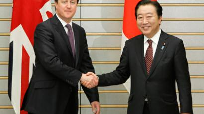 Britain's Prime Minister David Cameron shakes hands with Japan's Prime Minister Yoshihiko Noda (R) as they meet at the latter's official residence in Tokyo on April 10, 2012.