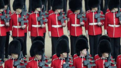 "London : Guardsmen take part in the Queen's Birthday Parade, ""Trooping the Colour"" at Horse Guards Parade in London. (AFP Photo/Carl Court)"