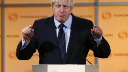 London's Mayor Boris Johnson speaks during a Thomson Reuters Newsmaker event at Canary Wharf, east London December 4, 2012. (Reuters / Andrew Winning)