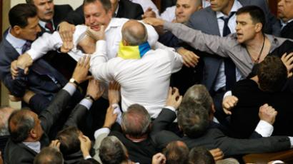 Punch and Judy politics: Ukraine's new parliament session turns into brawl (VIDEO)