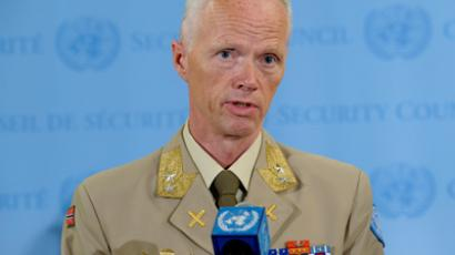 Brig. Gen. Robert Mood addresses the media following his briefing to the Security Council on Tuesday, June 19, 2012 (AFP Photo / UN / Evan Schneder)