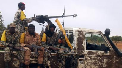 Malian troops patrol on a pick-up car (AFP Photo / Serge Daniel)