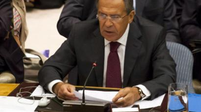 Russia Foreign Affair Minister Sergey V. Lavrov speaks at a United Nations Security Council meeting on peace and security in Middle East on September 26, 2012 in New York City. (Michael Nagle/Getty Images/AFP)