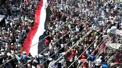 Syria, Latakia: An image grab taken from a video uploaded on YouTube shows Syrian anti-government demonstrators marching in the coastal city of Latakia on August 12, 2011 as thousands of anti-regime protesters rallied in flashpoint cities after the Ramadan weekly prayers. (AFP Photo)